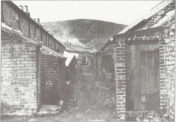 A Plantation back street with netty, Grange pit heap towering over all.