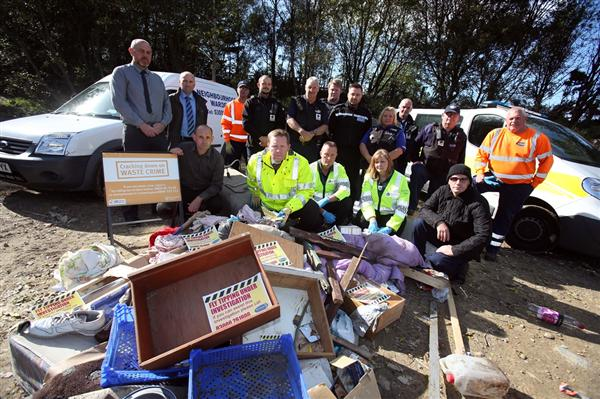 Officers from Durham County Council, Durham Constabulary and the Environment Agency. The organisations, along with Crimestoppers, are working together to tackle flytipping in County Durham.