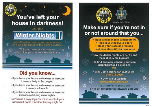 Whilst on foot patrol earlier this evening 32 of these leaflets were delivered to houses found in darkness. Please don't make it easy for burglars, follow the advice given.
