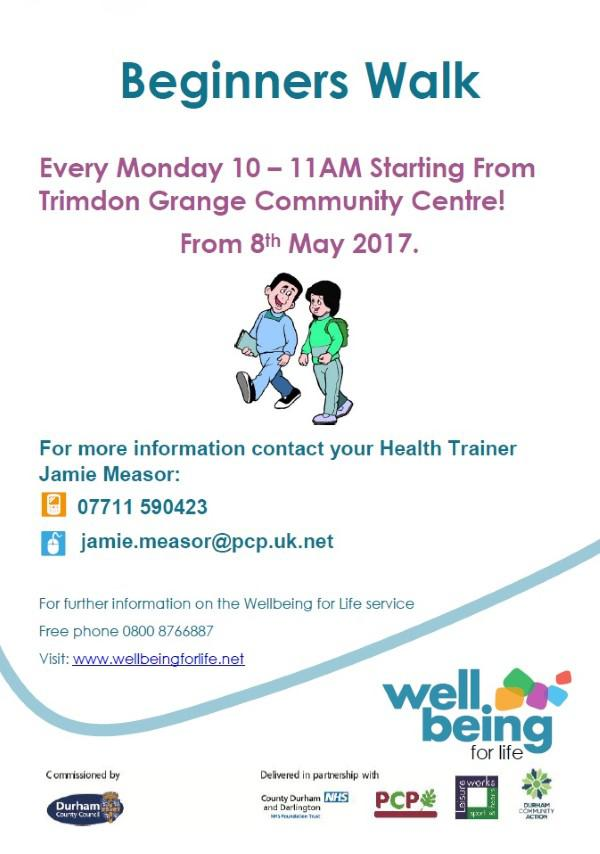 'Beginners Walk' starting on 8th May from Trimdon Grange Community Centre