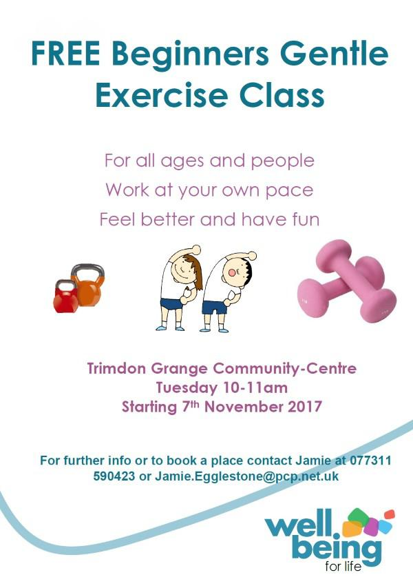 FREE Beginners Gentle Exercise Class for all ages and people Trimdon Grange Community-Centre Tuesday 10-11am Starting 7th November 2017