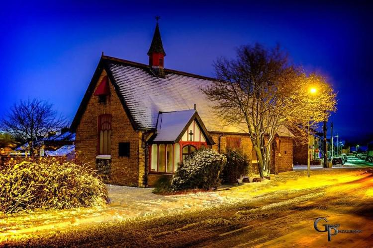 The night-time image of St Alban's Church, Trimdon Grange, in the snow is by courtesy of local photographer John Runciman.