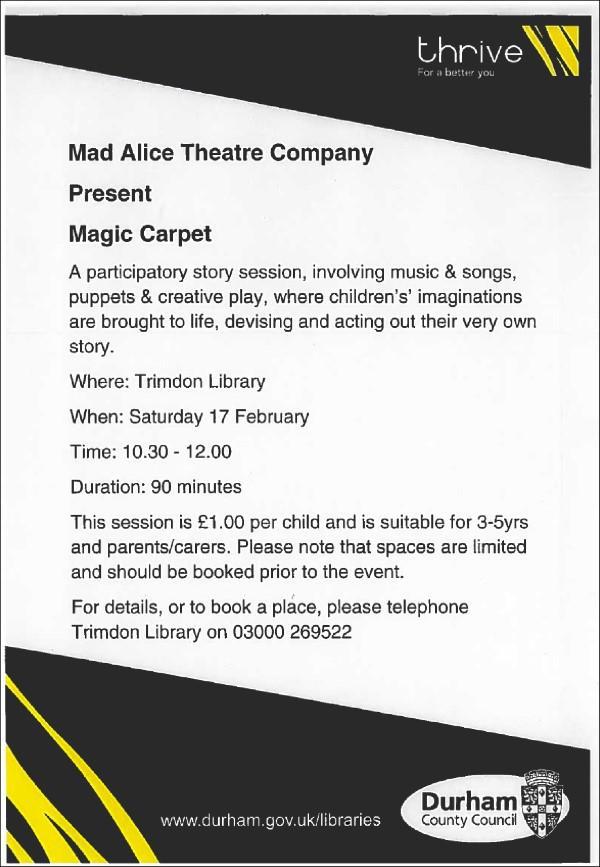 Magic carpet story session at Trimdon Village Library