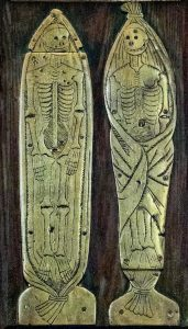 Smiling skeletons on artwork at Sedgefield Church