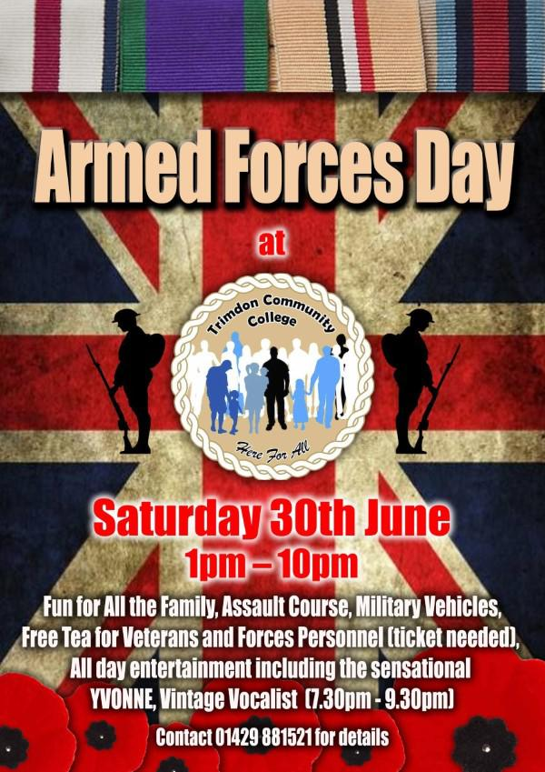 If you know of veterans or serving personnel in your villages please do send us their name or ask them to ring in 01429 881521. Trimdon Community College Armed Forces Day 30th June 2018.