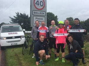 Peter Brookes and team made it to Belleek in Northern Ireland on the border with the republic in 20 hours 17 mins cycling time! 243 miles in total.