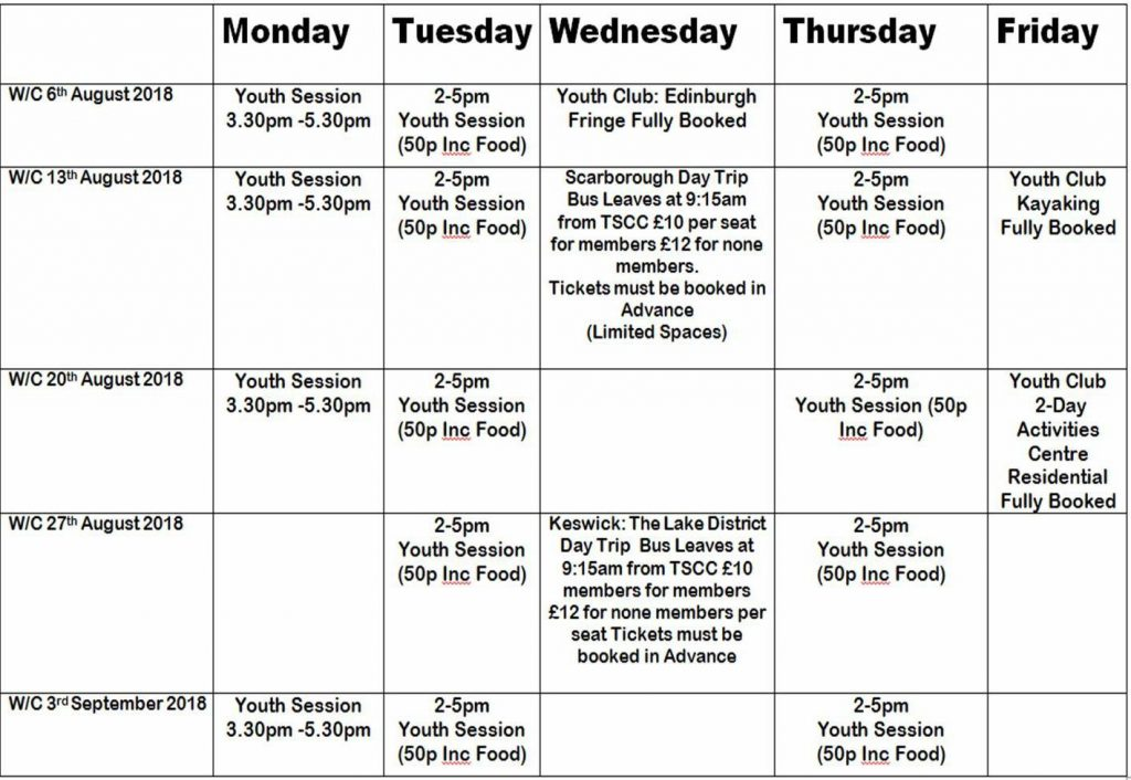 Trimdon Station Community Centre Summer Activities 6th Aug - 6th Sept 2018