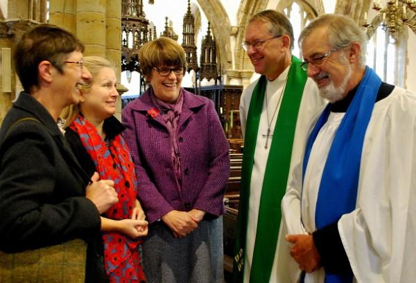 The Bishop with church members (l-r) Judith King, Alex Wainwright, Panny Pighills and Michael King.