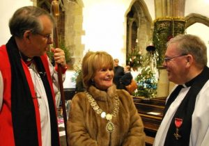 Bishop of Durham chatting with the Mayor of Sedgefield, Cllr Mavis Wayman, and the Revd. Geoffrey Short