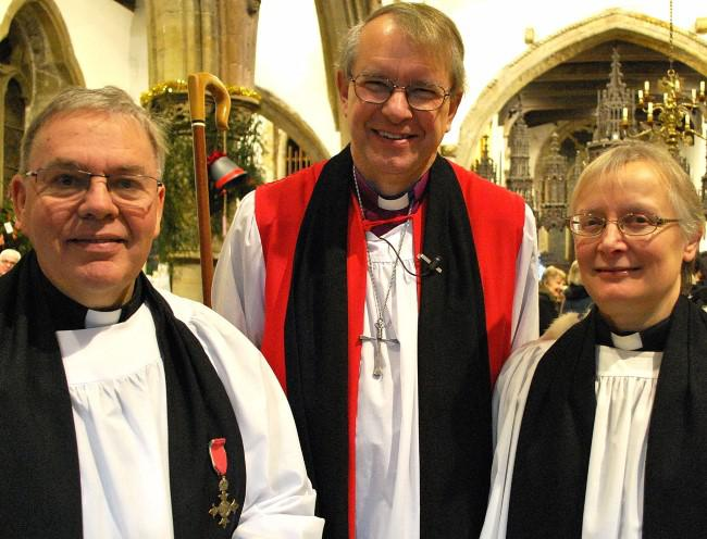 Bishop of Durham (centre) with the Revd. Geoffrey Short (left) and the Revd. Elizabeth Bland.