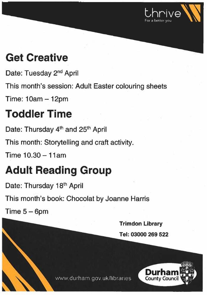 April at Trimdon Village Library