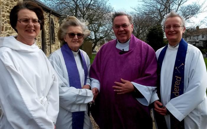 From left: Chalice assistant Suzanne Hopper, Revd. Eileen Tarren, Team Rector Revd. Geoff Short, Team Vicar Revd  Elizabeth Bland