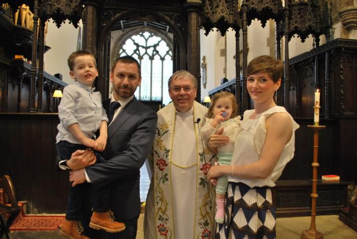 Mum Laura Lucas-Hartley, son Joshua and daughter Jessica baptised at Sedgefield
