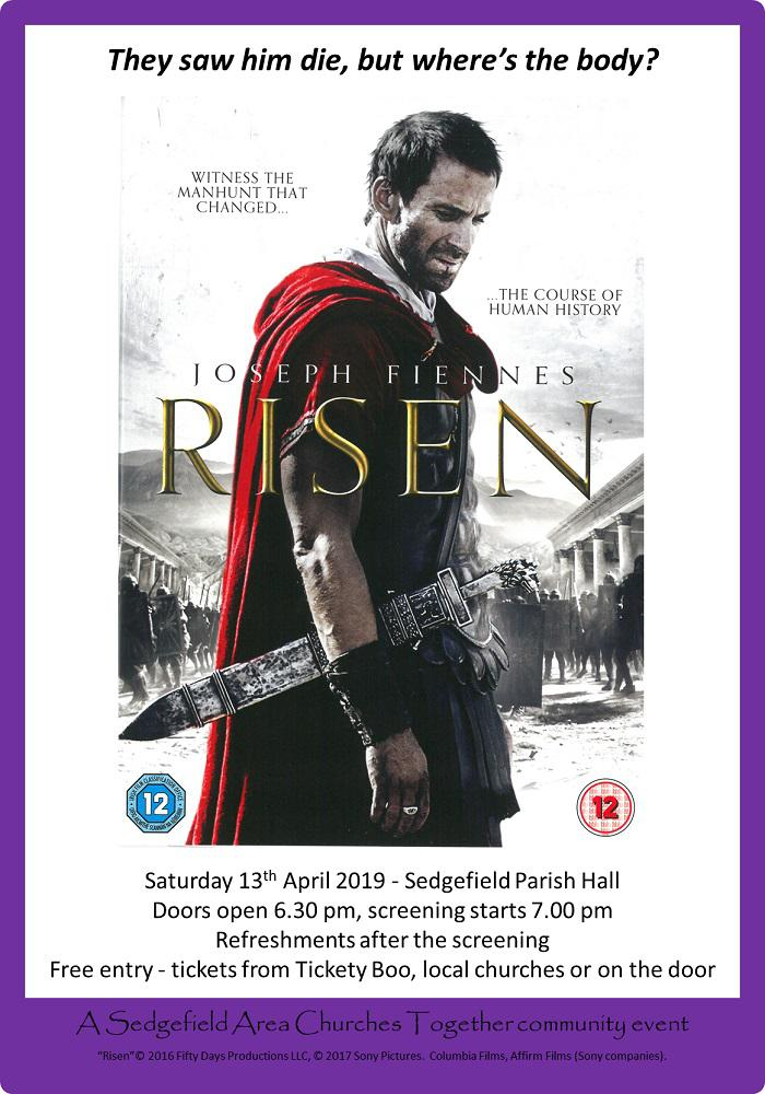 Free film at Sedgefield showing 'Risen', the manhunt that changed the course of human history