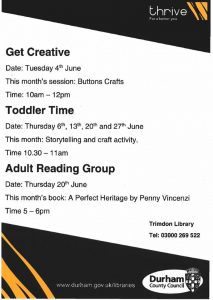 What's On at Trimdon Village Library in June 2019