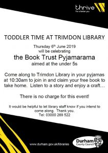 Toddler Time at Trimdon Village Library 10.30am on 6th June 2019