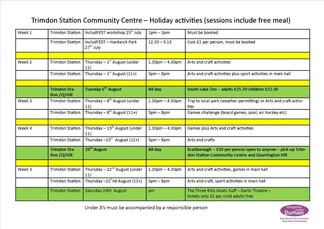 Summer Holiday 2019 activities at Trimdon Station Community Centre