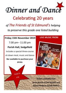 Dinner Dance at the Parish Hall, Sedgefield 15th November 2019