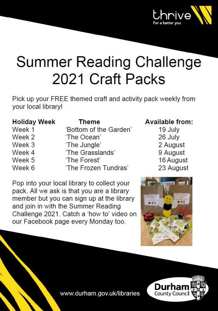 Summer Reading Challenge Craft Packs at Trimdon Village Library