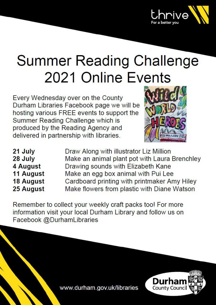 Summer Reading Challenge 2021 Online Events at Trimdon Village Library
