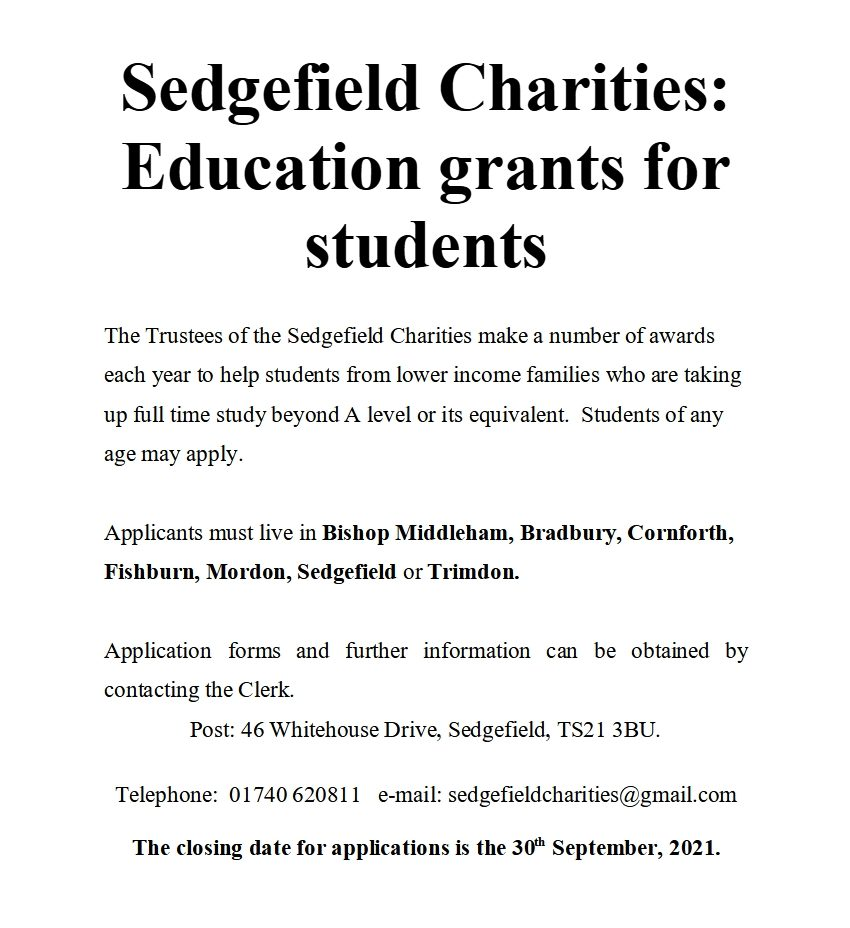 Grants are available to students from low income families who have completed A levels or equivalent and are continuing into full time education.